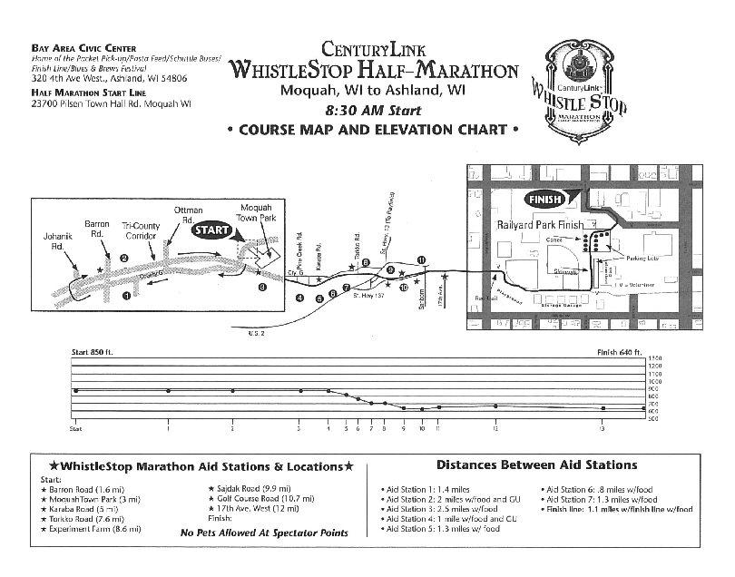 WhistleStop Half Marathon Course Map